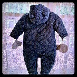 Baby Gap denim bear snowsuit w/ mittens on string